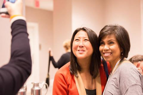 Sung Poblete, President and CEO of Stand Up To Cancer (left) and Mary Ann Laverty (right)