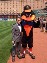 FOX Sportscaster Ken Rosenthal and Oriole Bird Mascot